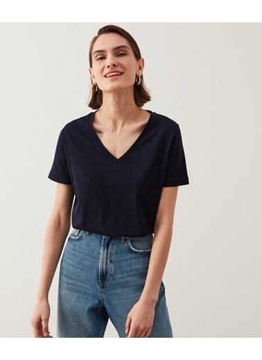 Ipekyol Kadın Basic Tişört IS1210070073015 Mavi
